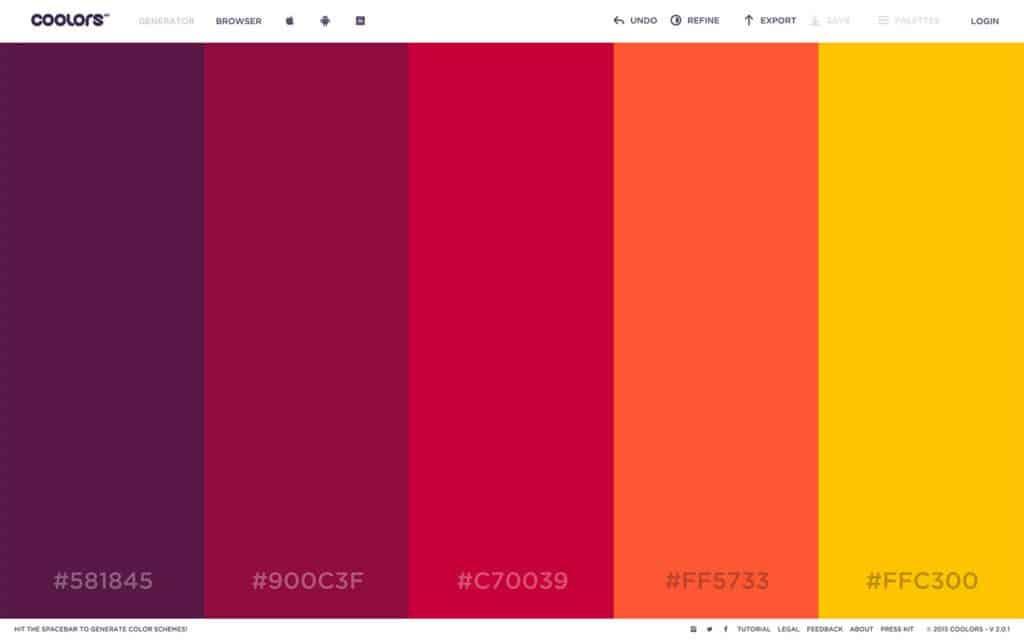Paleta de colores para Instagram