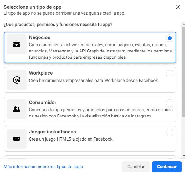 Crea una app en Facebook Business Manager